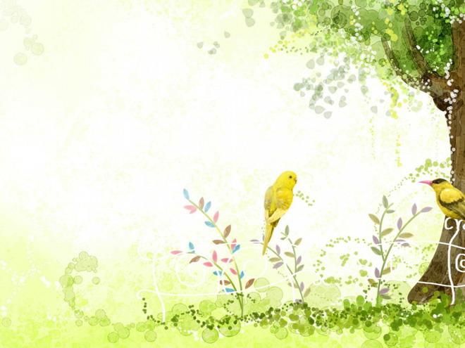 春天的小鸟ppt背景图片