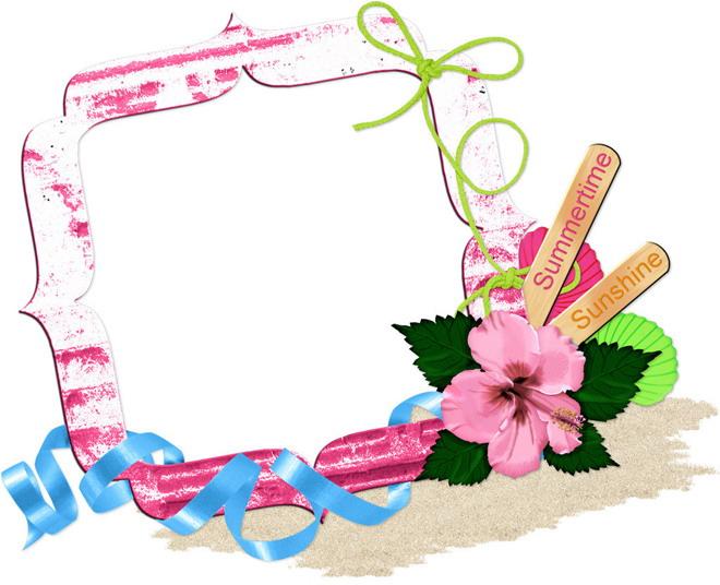 两张彩色卡通花卉ppt边框背景图片