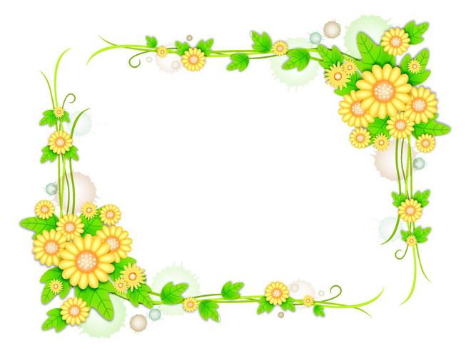 成簇的花卉边框ppt背景图片