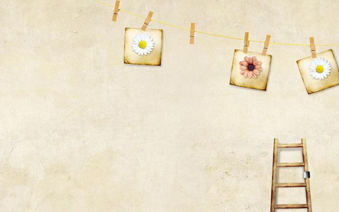 这是一张棕色背景墙古典PPT背景图片,第一PPT模板网提供幻灯片背景图片免费下载; PPT背景图片是粉刷的墙面背景,褐色的梯子老旧的打上了补丁,绳子上挂着的几张花卉图片变得泛黄。本幻灯片背景图片适合用于制作与时光、怀旧相关的PPT; 关键词:棕色PPT背景图片,古典PPT背景图片,.