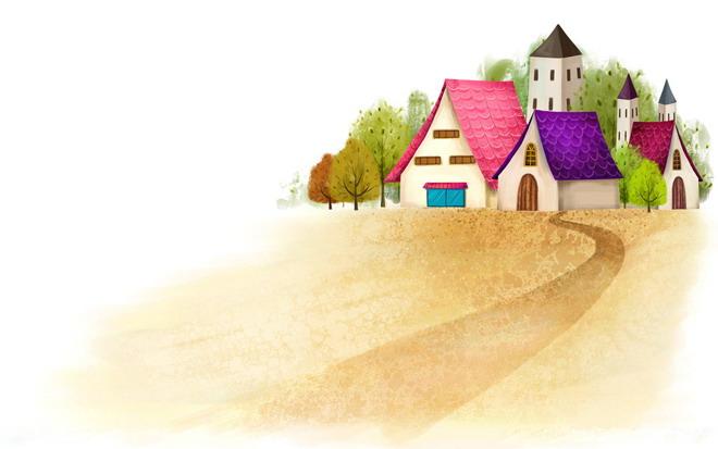 红瓦绿树的房子卡通ppt背景图片