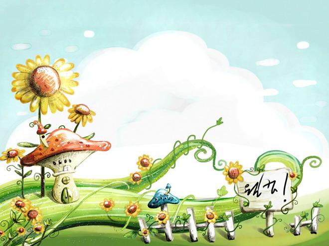 彩绘绿色植物卡通ppt背景图片