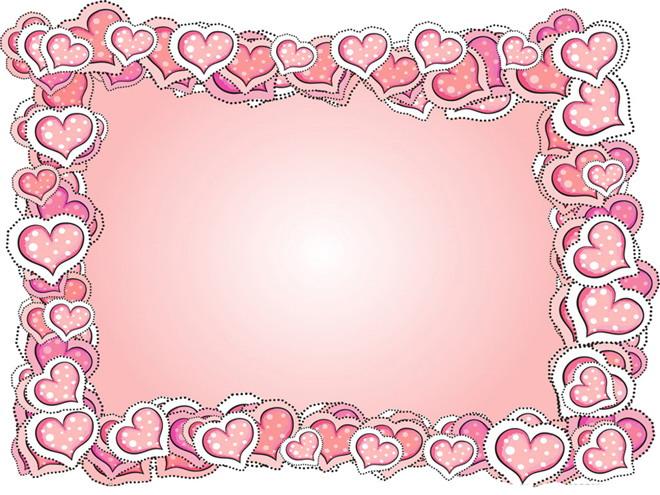 粉色心形边框PPT背景图片
