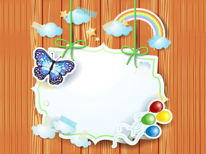 木质底色白色边框PPT背景图片