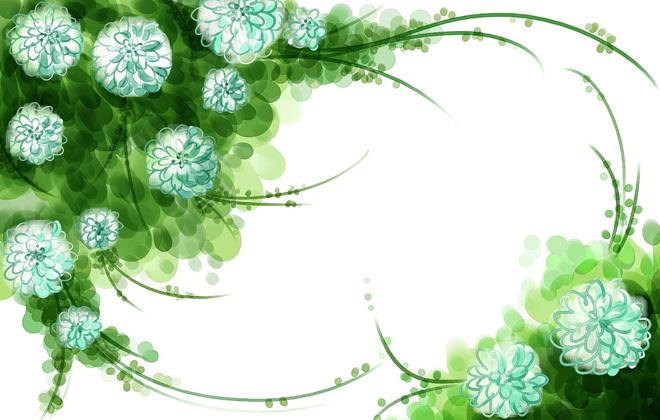 ppt背景图片,绿色的叶子,白色的花朵,细长的枝蔓构成了一个ppt边框