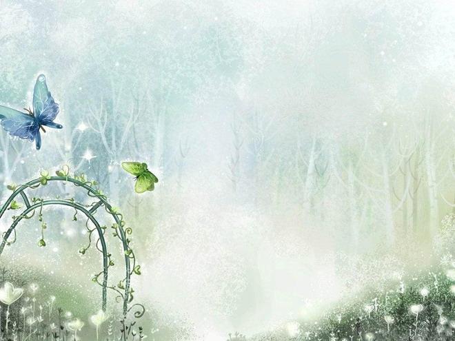 树枝,有蝴蝶,带花的大门;本背景图片适合用于制作散文文学类幻灯片