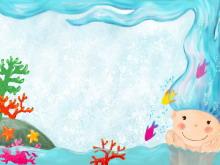 蓝色珊瑚人物卡通PPT背景图片