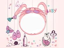 粉色卡通兔子边框PPT背景图片