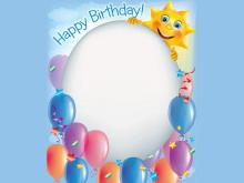 蓝色背景生日气球边框PPT背景图片