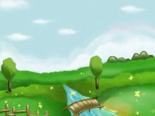 绿色山坡流水自然PPT背景图片