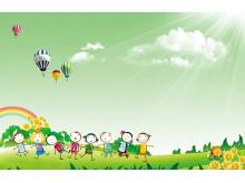 卡通人物儿童节PPT背景图片