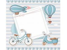 蓝色卡通边框PPT背景图片