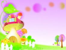 彩色唯美卡通蘑菇房子PPT背景图片