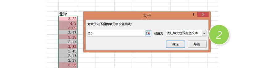 Excel中如何批量实现凡是大于2.5的数字变成红色?