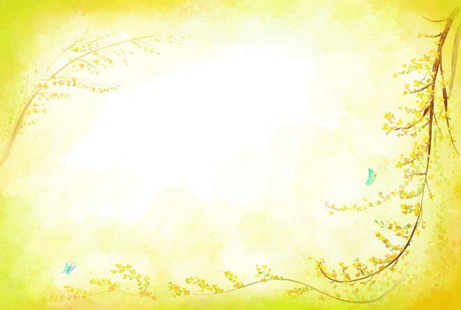 淡黄背景枝叶边框PPT背景图片
