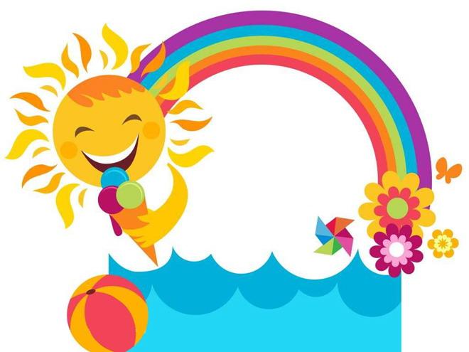 彩虹太阳边框ppt背景图片
