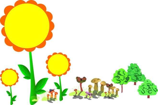 黄色向日葵卡通边框ppt背景图片