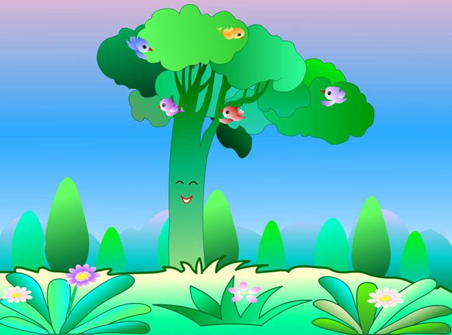 《大树和小鸟》flash动画课件