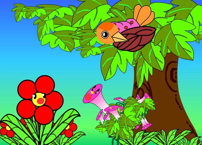 《小鸟和牵牛花》flash动画课件