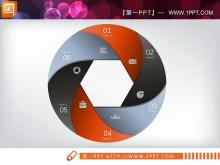 圆形3D立体PPT图表