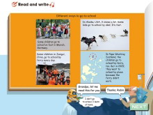 《Ways to go to school》read and write Flash动画课件