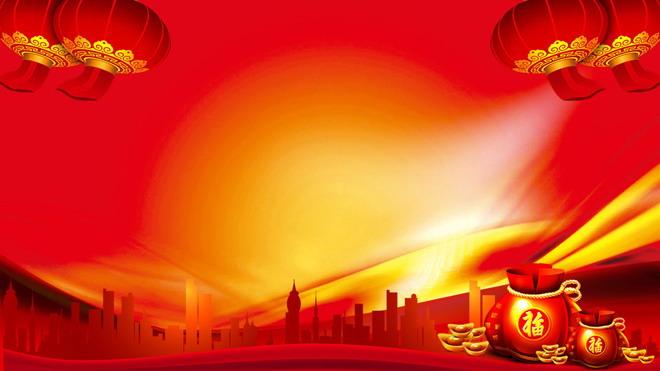 四张喜庆红色春节新年PPT背景模板