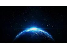 唯美蓝色地球的曙光PPT背景图片下载
