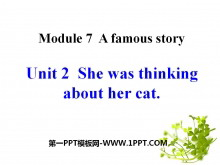 《She was thinking about her cat》A famous story PPT课件3