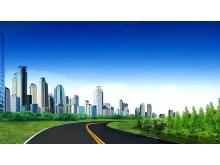干净整洁的绿色城市PPT背景图片