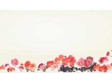 一簇牡丹背景的中国风PPT背景图片