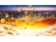 现代化城市背景的金融理财PPT背景图片