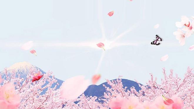 第一PPT模板网提供唯美幻灯片背景图片免费下载;-桃花盛开蝴蝶漫