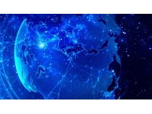 蓝色梦幻星空背景的科技PPT背景图片