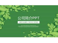 绿色清新叶子背景的公司简介PPT模板下载