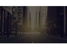 国外朦胧的城市街道PPT背景图片