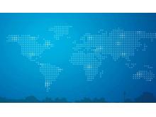 蓝色世界地图城市剪影商务PPT背景图片