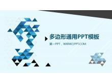 蓝黑搭配的多边背景PPT模板下载