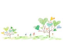 四张手绘风格的卡通PPT背景图片