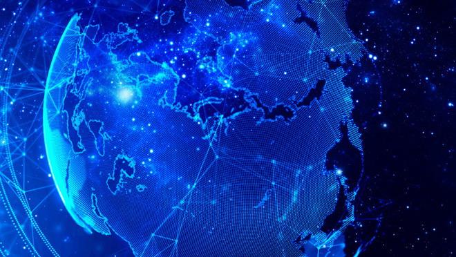藍色夢幻星空背景的科技ppt背景圖片