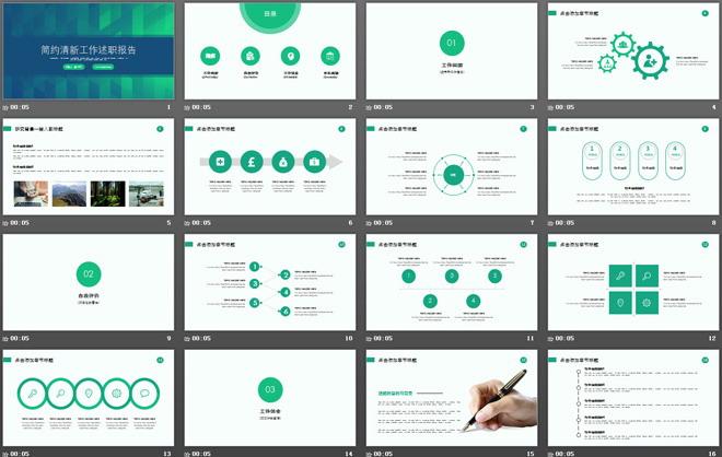 正式清新绿色背景个人述职报告商务PPT模板
