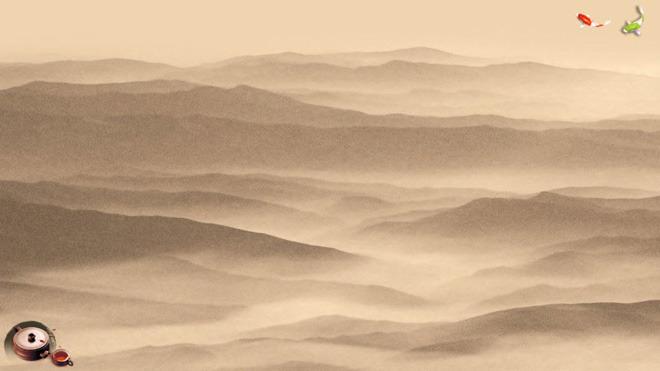 张淡雅褐色水墨中国风PPT背景图片,第一PPT模板网提供中国风幻