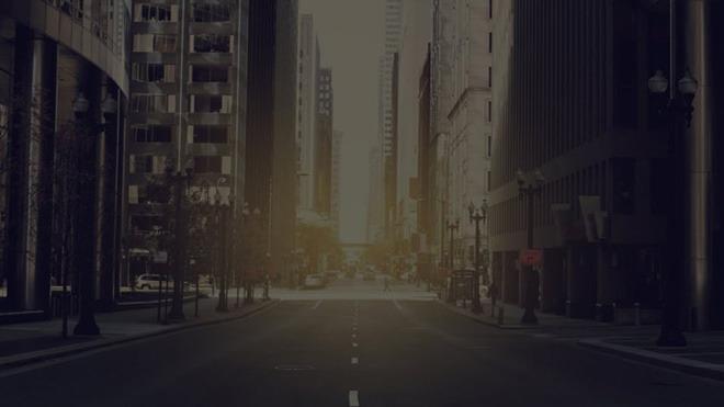 國外朦朧的城市街道ppt背景圖片