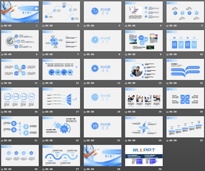 幻灯片内部使用蓝色扁平化设计了整套与医疗相关的ppt图表,幻灯片之间图片