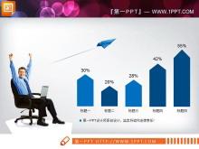 蓝色扁平化工作总结PPT图表大全