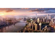 国外高楼耸立的现代化城市与桥梁PPT背景图片