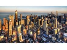 金色国外发达城市PPT背景图片