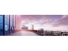 宽屏写字楼商业建筑PPT背景图片