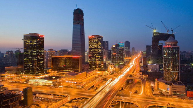 繁华的北京夜景PPT背景图片