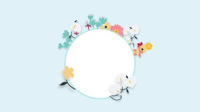 第一ppt ppt背景 植物背景图片 蓝色简洁清新文艺花卉ppt背景图片