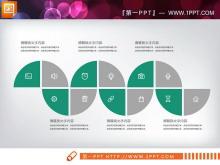 绿灰扁平化PowerPoint图表整套下载